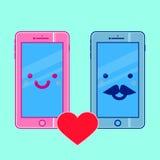 Twee telefoonsroze en blauw Royalty-vrije Stock Afbeeldingen
