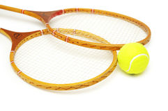 Twee tennisrackets stock foto's