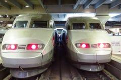 Twee TGV van de hoge snelheidskogel treinen in Gare Montparnasse Royalty-vrije Stock Foto