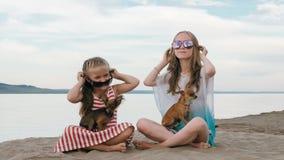 Twee tiener zitten op een zandig strand dichtbij het overzees Zij hebben twee honden Stock Foto