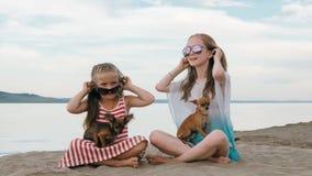 Twee tiener zitten op een zandig strand dichtbij het overzees Zij hebben twee honden Royalty-vrije Stock Afbeelding