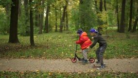 Twee tieners berijden een autoped en een stuiverraad Zij bewegen zich langs de weg in het park De herfstdag in het groene park, stock videobeelden