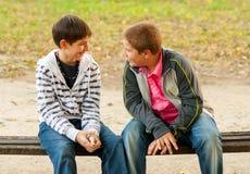 Twee tienervrienden die in het park spreken Stock Afbeeldingen
