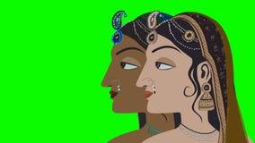 Twee Traditionele Indische Hindoese Vrouwen op het Groen Scherm stock videobeelden