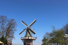 Twee traditionele Nederlandse windmolens met tulpenrijen bij de lentedag, Nederland Stock Foto's