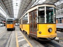 Twee trams in het depot van Milaan Royalty-vrije Stock Foto's