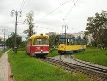 Twee trams in Khabarovsk Royalty-vrije Stock Afbeeldingen