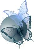 Twee transparante blauwe vlinders Stock Afbeelding