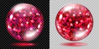 Twee transparante gebieden met rode fonkelingen vector illustratie