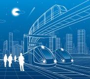 Twee treinenreis per spoor Monorailbeweging aan brug Moderne nachtstad Stedelijke Scène Mensen die bij straat lopen Vliegtuigvlie vector illustratie