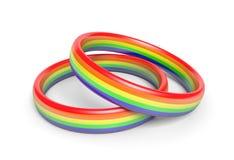 Twee trouwringen met regenboog markeren kleuren, een symbool van vrolijke of zelfde geslachtsvennootschappen vector illustratie