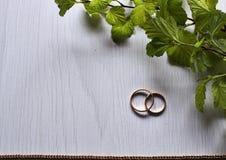 Twee trouwringen op een witte achtergrond Royalty-vrije Stock Fotografie