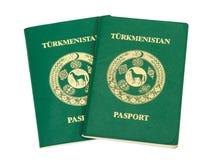 Twee Turkmenistan paspoorten Royalty-vrije Stock Foto