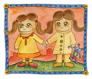Twee tweelingen Royalty-vrije Stock Afbeelding
