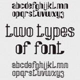 Twee types van doopvont - hoogtepunt en hol Zwarte kleine letters Geïsoleerd Engels alfabet Stock Fotografie