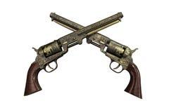 Twee uitstekende pistolen op houten achtergrond Royalty-vrije Stock Afbeeldingen