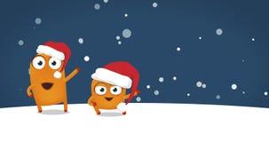 Twee Upsies-karakters het dansen gekke grappige Kerstmisdans vector illustratie