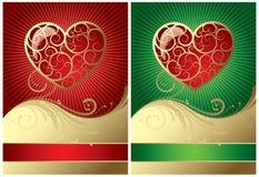 Twee valentijnskaartkaart Stock Foto's