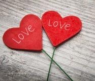 Twee Valentine Heart Stock Afbeelding