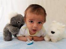 Twee van de babymaanden jongen met koalastuk speelgoed Stock Fotografie