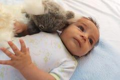 Twee van de babymaanden jongen met koalastuk speelgoed Royalty-vrije Stock Foto's