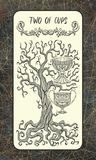 Twee van koppen Minder belangrijke Arcana-Tarotkaart royalty-vrije illustratie