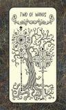 Twee van toverstokjes De Magische kaart van het Poorttarot royalty-vrije illustratie