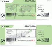 Twee varianten van de kaartjes van de luchtvaartlijn instapkaart royalty-vrije illustratie