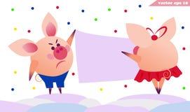 Twee varkens die de banner hangen stock illustratie