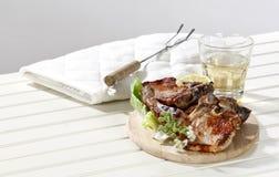Twee varkensvleeslapjes vlees Stock Foto's