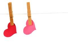 Twee Vastgepende Harten Stock Foto