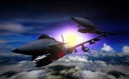 Twee vechter het straal vliegen in een opdracht stock illustratie