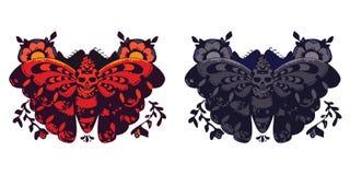 Twee vectorvlinders Royalty-vrije Stock Foto's