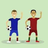 Twee vectorvoetballers Stock Afbeeldingen