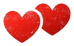 Twee verbonden harten grunge stock illustratie