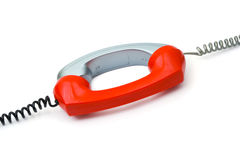 Twee verbonden telefoonontvangers stock foto