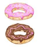 Twee verglaasd donuts met roze en chocoladebovenste laagje royalty-vrije illustratie