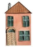 Twee-verhaal rood huis met een grote deur op een witte achtergrond Waterverfillustratie voor ontwerp stock illustratie