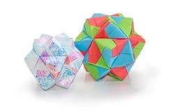 Twee verschillende dodecahedrons - drie afmetingen geometrische cijfers stock afbeelding