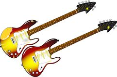 Twee verschillende elektrische gitaren met esdoorn en rozehouthals Stock Afbeeldingen