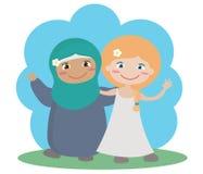 Twee verschillende meisjes samen op een blauwe achtergrond vector illustratie