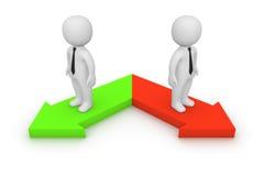 Twee verschillende richtingen Royalty-vrije Stock Afbeeldingen