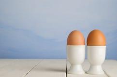 Verse Bruine Eieren in Koppen Royalty-vrije Stock Foto