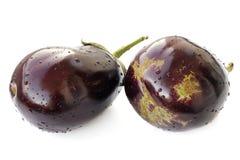 Twee verse violette geïsoleerde erfgoedaubergines Royalty-vrije Stock Foto