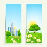 Twee Verticale Banners met Aard Stock Foto
