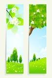 Twee Verticale Banners met Aard vector illustratie