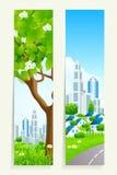 Twee Verticale Banners met Stad royalty-vrije illustratie