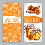 Twee verticale honingsbanners Royalty-vrije Stock Foto's