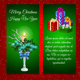 Twee verticale kaarten met Kerstmisdecoratie en Royalty-vrije Stock Fotografie