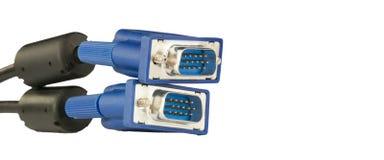 Twee VGA-coonectors met zwarte die kabels op witte achtergrond worden geïsoleerd Stock Foto